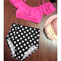 Bikini cúp bèo quần bi lưng cao