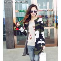 Áo khoác len nữ form dài Mã: AO2042 - XANH RÊU