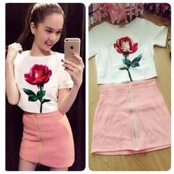 Set áo croptop hoa hồng chân váy body