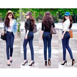 Quần jean lưng cao 1 nút 2 túi đen giống bella