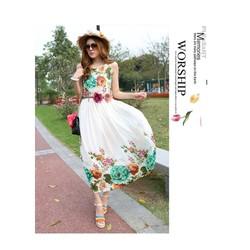 Hình Sp thật - Đầm maxi hoa ấn tượng - DV2107