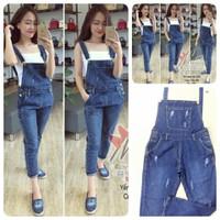 HÀNG LOẠI I - Yếm Jeans dài was rách túi to