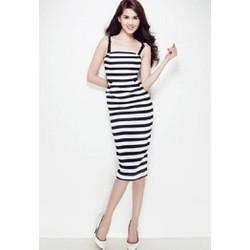 Hàng thiết kế - Đầm body sọc đen trắng Ngọc Trinh D221