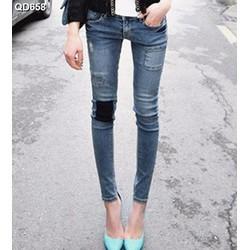 Quần jeans skinny vá ô vuông Mã: QD658