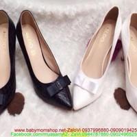 Giày cao gót mũi nhọn có nơ thời trang cho nàng hàng xuất khẩu GC128