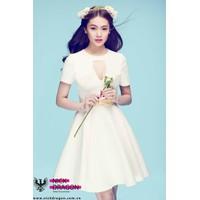 Đầm trắng xòe khoét ngực thiết kế dễ thương như Linh Chi M308