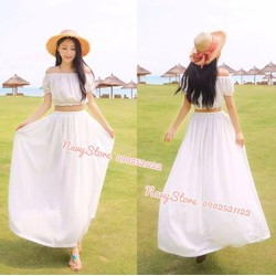 Bộ đầm maxi áo và chân váy dài SD305