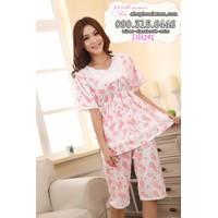 Đồ bộ lửng mặc nhà thun cotton hàng quảng châu hình bông hoa - DB291