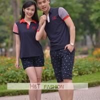 Áo phông đôi mùa hè HT077 Xanh