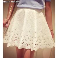 Chân váy vintage đục lỗ nữ tính Mã: VN311 - TRẮNG