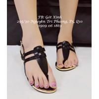 Giày sandal Colee xỏ ngón da mềm đen-GX197