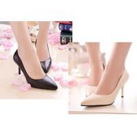 Giày cao gót mũi nhọn da bóng kiểu đơn giản