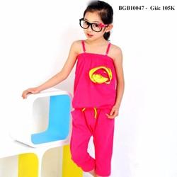 Bộ thun cotton liền quần dễ thương cho bé gái