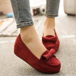 Giày búp bê bánh mì nơ xoắn màu đỏ