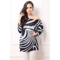 Áo thun dệt kim nữ dài tay cánh dơi, họa tiết ấn tượng-A2242