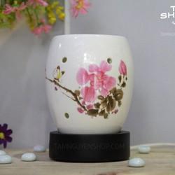 Đèn xông tinh dầu gốm trắng hoa lan