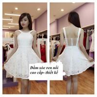 Đầm xòe yếm hoa ren sò nổi cao cấp - Hàng thiết kế