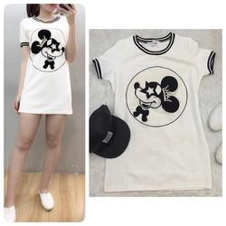 Đầm thun body cổ phối sọc họa tiết chuột Mickey
