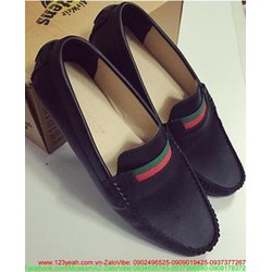 Giày mọi da lộn nam công sở khóa sọc sành điệu sang trọng GDNHK77