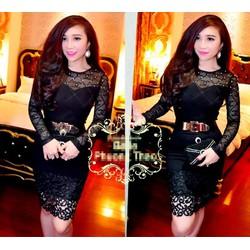 Set bộ áo ren tay dài đính ngọc trai chân váy đen ren nổi - SET700