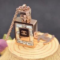 Dây chuyền titan chai Chanel đính hột dài - trang sức inox