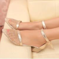 Giày búp bê nữ mũi nhọn phối ren lưới trẻ trung