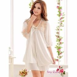 Áo choàng váy ngủ kín đáo, dễ thương TK333