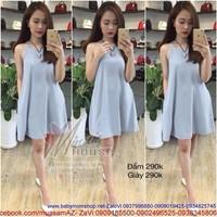 Đầm suông xòe nhẹ cổ yếm xinh đẹp hàng đẹp DM142