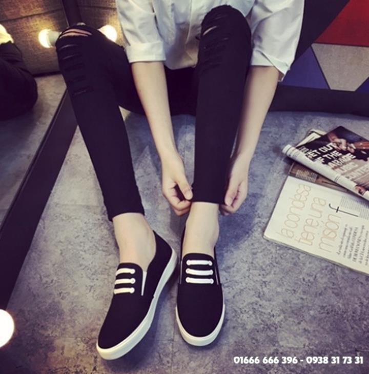 Giày slip on giả bata màu đen G800-D 9
