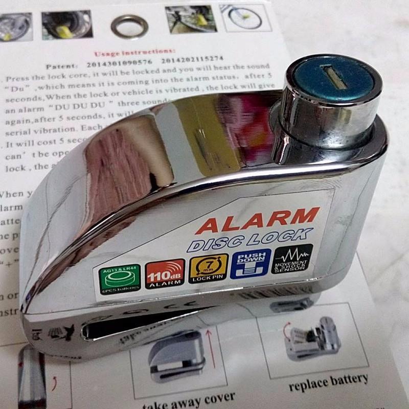 Khóa đĩa xe máy báo động LT8303 bạc 2