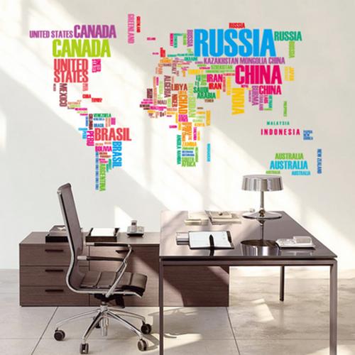 Decal dán tường Bảng đồ tên các nước đủ màu