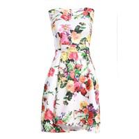 Đầm xòe in hoa xếp ly- Trắng
