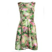 Đầm xòe in hoa xếp ly- Xanh