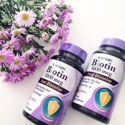 Natrol Biotin 5000mcg – viên ngậm kích thích mọc tóc và ngăn rụng tóc