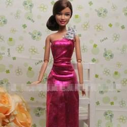 Đầm dạ hội lệch vai sang trọng cho búp bê barbie