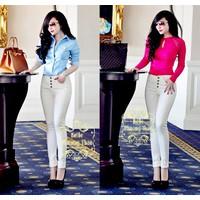 Quần jean trắng lưng cao 4 nút fake zara giống bella
