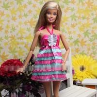 Đầm yếm hồng phối xanh cho búp bê barbie