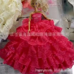 Đầm cưới ren xếp nhiều tầng cho búp bê barbie