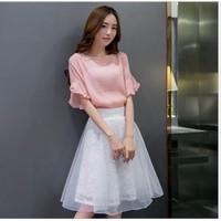 Set áo và chân váy xòe Hong Kong YW543