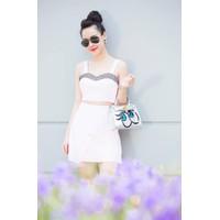 Bộ áo hai dây cúp ngực và chân váy chữ A như Helen Thanh Thảo M386