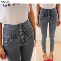 Quần jeans nữ lưng cao nhiều nút  Mã: QD663