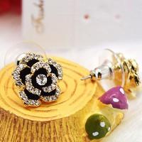 Bông tai hoa hồng Hàn Quốc đính hột sang trọng bản nhỏ