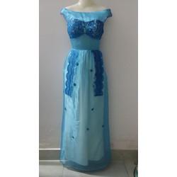 M159 - Đầm dạ hội xanh phối ren và hoa
