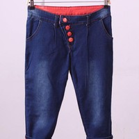 Quần jeans lửng xăn nút xéo  Mã: QL198