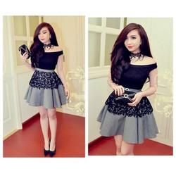 Đầm thiết kế ren đen bẹt vai caro giống bella - D786-239