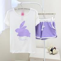 Bộ đồ mặc nhà nữ dáng ngắn, họa tiết thỏ con dễ thương, màu trẻ trung