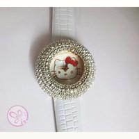 Đồng hồ Nữ Jbaili đính hạt mặt Kitty D0208-DHA067 - Kim Quay - Trắng