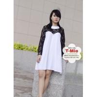 Đầm bầu Hàn Quốc kiểu trang nhã,chất liệu ren mềm mịn