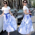 Đầm xòe hoa hồng xanh BD99-HÀNG NHẬP HÀN QUỐC CAO CẤP