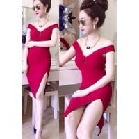Đầm body đỏ xẻ đùi  D229